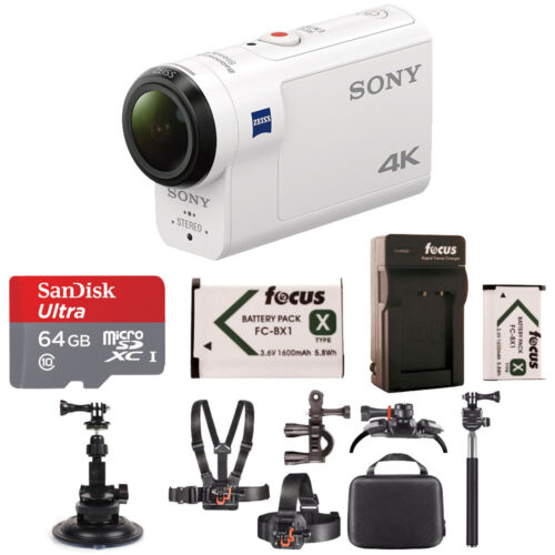 Sony FDRX3000/W 4K HD Recording, Action Cam Underwater Camcorder, White
