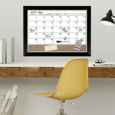 Corkboard Whiteboard Combo Dry Erase Reusable Calendar Magnetic Wall One Month