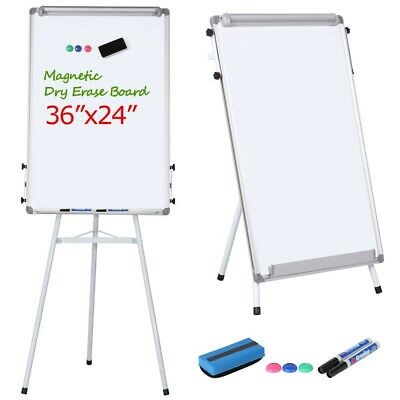 24x36 Magnetic Dry Erase White Board With Tripod Flipchart Stand Office Home
