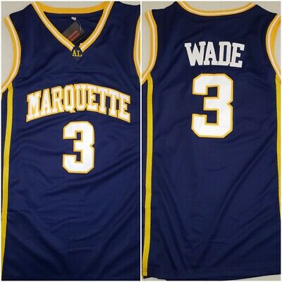 8e86ba1d0368 Throwback Dwyane Wade Marquette Golden Eagles Navy Mens Sz Small Replica  Jersey