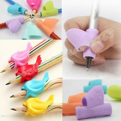 1/3/10Pcs Pencil Grip Tool Soft Rubber Pen Topper For Kid Handwriting Aid Useful