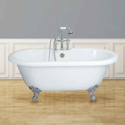 Randolph Morris 60 Inch Acrylic Double Ended Clawfoot Tub - Rim Faucet Drillings