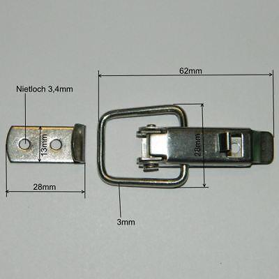 Spannverschluss Kistenverschluss  Nietloch Ø 3,4 mm Stahl verz. Kappenschloss