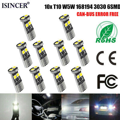10X T10 3030 6SMD W5W CANBUS 6000K White LED Light 168 194 2825 Bulbs