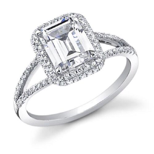 Emerald Cut Diamond Engagement Ring 2.34 Carat 18k White Gold GIA Certified