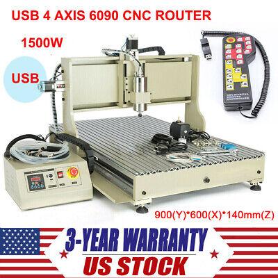 4 Axis Cnc 6090 Usb Router Engraver 1500w Diy Desktop Engraving Milling Machine