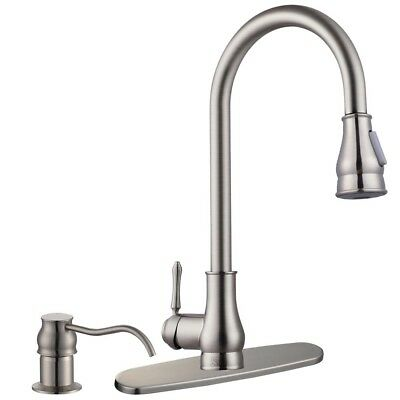 "18"" Pull-Out Kitchen Sink Faucet Spray Swivel Pull Down Plumbing Soap Dispenser"