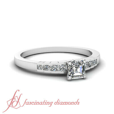 Engagement Ring Channel Set 0.60 Ct Asscher Cut:Ideal Diamond VVS1-H Color GIA