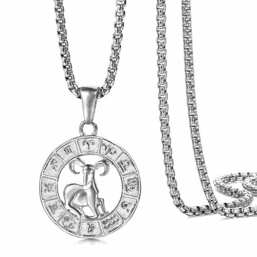 Real Stainless Steel 12 Zodiac Sign Constellation Pendant Necklace Women Men