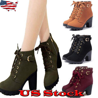 US Womens High Heel Lace Up Ankle Boots Ladies Zipper Buckle Platform Shoes (Lace Up Platform Shoes)