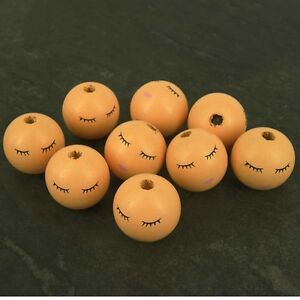 Pack 10 Large Sleeping Wooden Angel Doll Head Beads, 27 mm Faces -Hole 5 mm W10
