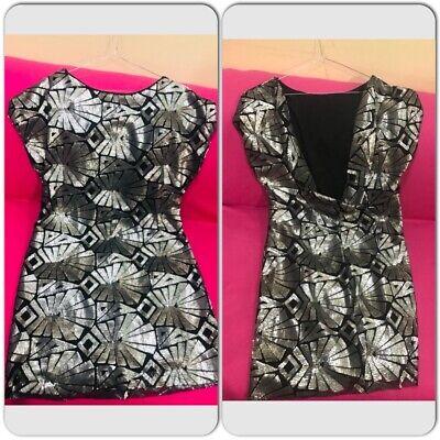 Dilek Hanif Koton Women Sequin Detailed V Style Back Midi Dress short Sleeve