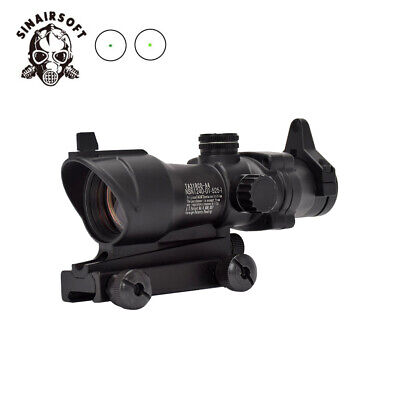Tactical 1x32 ACOG Rifle Scope Red/Green Dot Sight for Airsoft FULL Scope Black