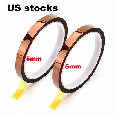 2x 5mm 33m 100ft Kapton Polyimide Tape High Temperature Resistant Bga Us Ship