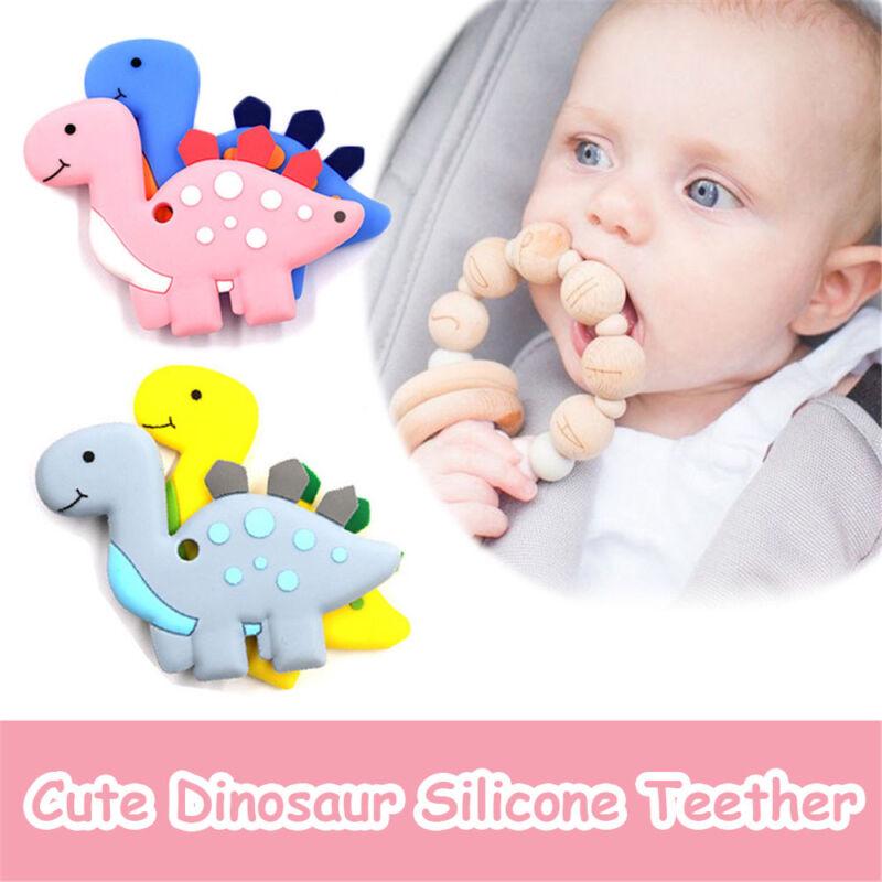 Grade Pendants BPA-Free Silicone Baby Teethers Chew Beads Bite Toys Dinosaur
