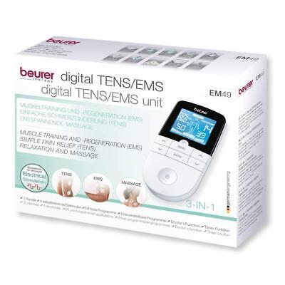 Electroestimulador Digital Beurer EM49 2 Canales 4 Electrodos TENS Masaje EMS