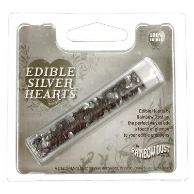 Rainbow Dust Essbare Lebensmittel-Form Kuchen Dekoration Silver Hearts Sprinkles Silver Sprinkles