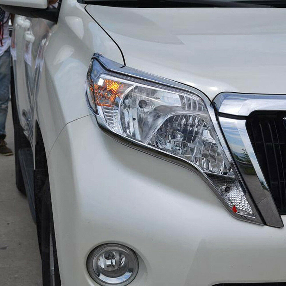 Chrome Front Fog Light Bezel Cover Trim 2pcs for Toyota Prado FJ150 2014-2016