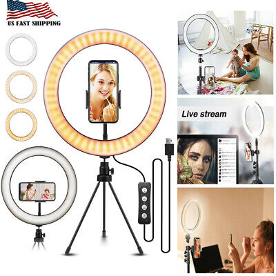 """10""""LED Ring Light w/Tripod Stand Kit for Camera Phone Selfie Video Live Stream R"""