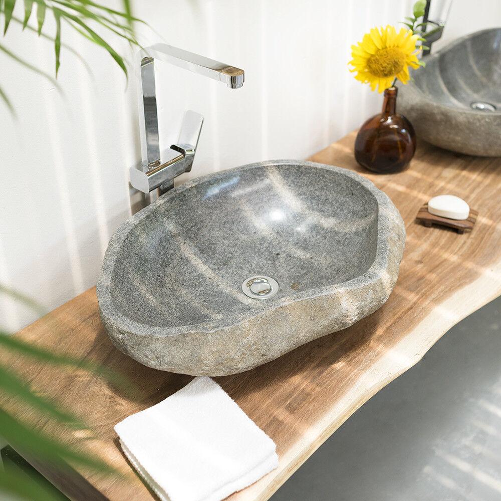 WOHNFREUDEN Flussstein Aufsatz-Waschbecken Naturstein ca. 60 cm Waschschale Bad