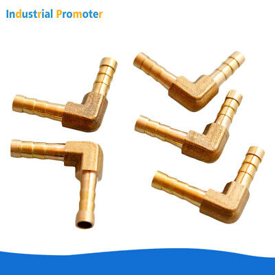 5pcs 14 Hose Barb Elbow 90 Degree Brass Pipe Fitting Gas Fuel Water Air 6mm