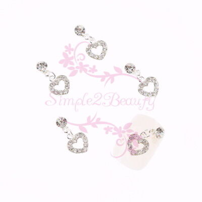 Art Dangle - 20 Dangle Heart Metal Clear Rhinestones Decor Nail Art Alloy Charms Jewelry DIY
