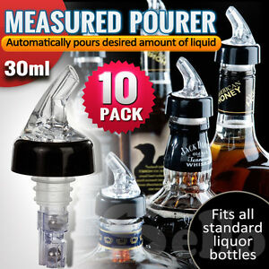 10x Liquor Bottle 30ml Shot Pourer Dispenser Spirit Nip Measure Red Wine Barware