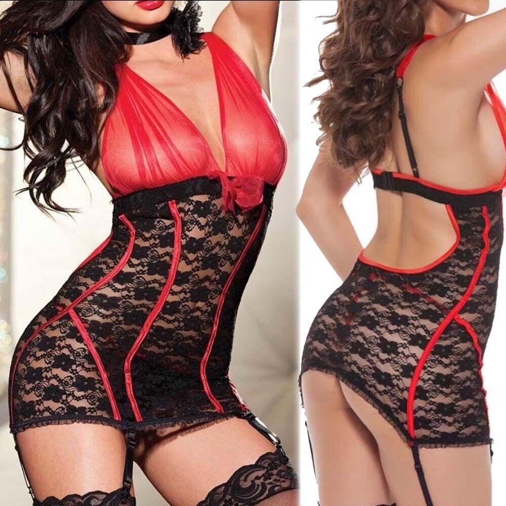 Valentine Women Sexy Lace Lingerie See Through Babydoll Chemise Sleepwear Dress Clothing, Shoes & Accessories