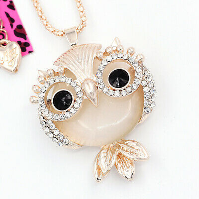 Betsey Johnson Women's Opal Crystal Cute Owl Pendant Sweater Chain Necklace