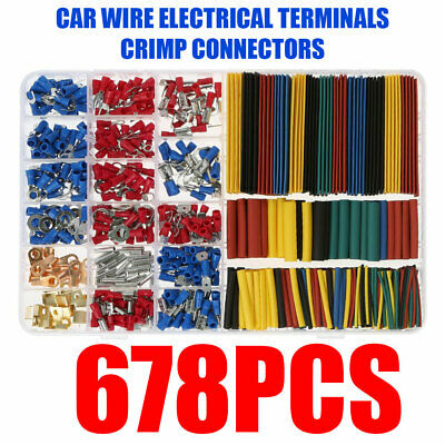 Car Electrical Wire Terminals Insulated Crimp Connectors Spade 678 Pcs Set Kit