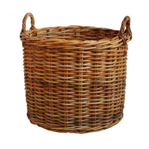 Large round wicker storage baskets : Honey rattan round wicker log basket fireplace wood