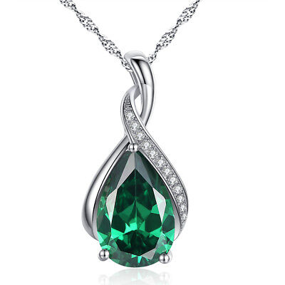 """925 Sterling Silver Pear Cut Created Emerald Gemstone Pendant Necklace 18"""" Chain"""