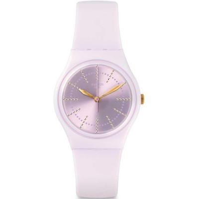 New Swiss Swatch Originals GUIMAUVE Women Pink Silicone Watch 34mm GP148 $60