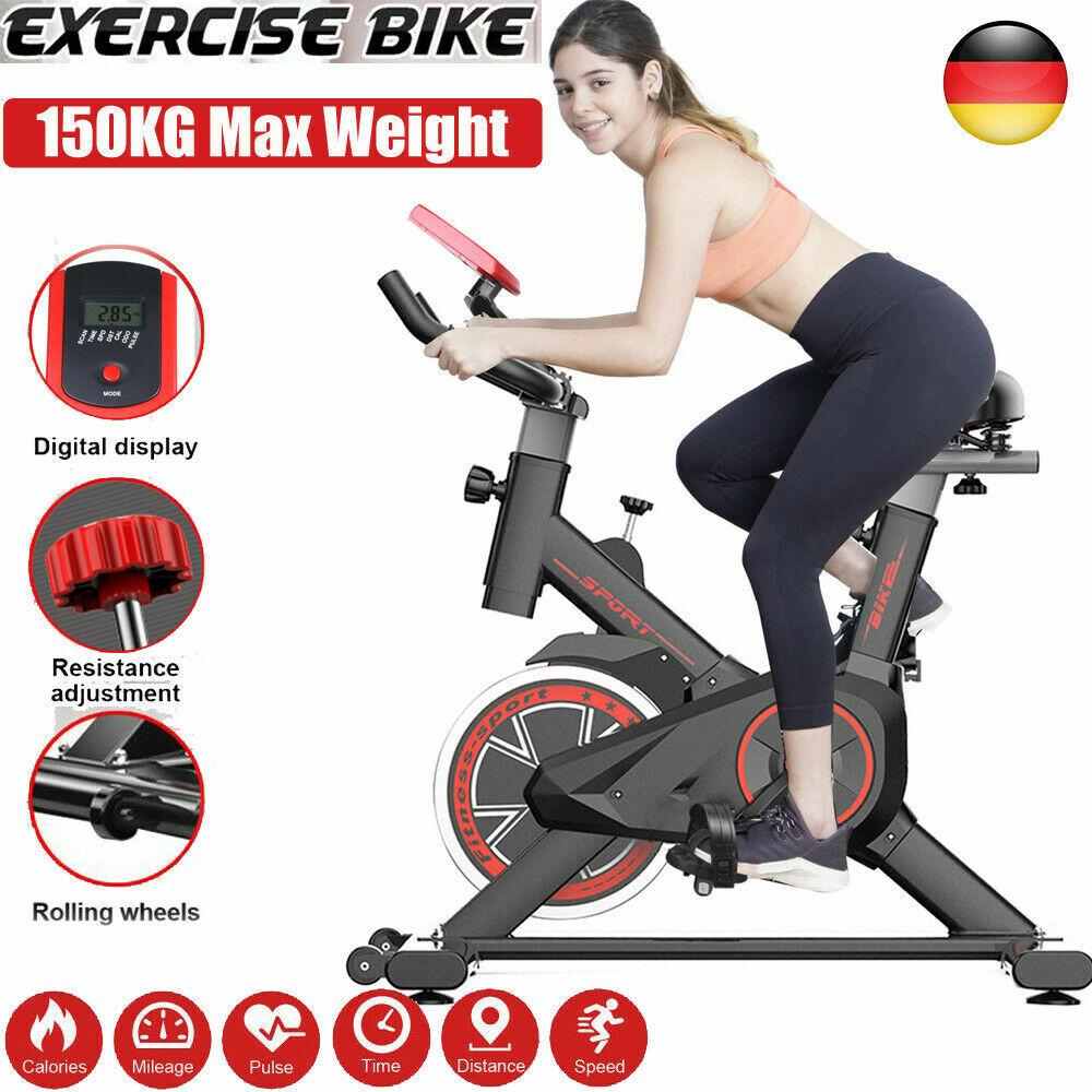 LCD Heimtrainer Ergometer Fitness Fitnessrad Indoor Cycling Fahrrad 120 KG Damen