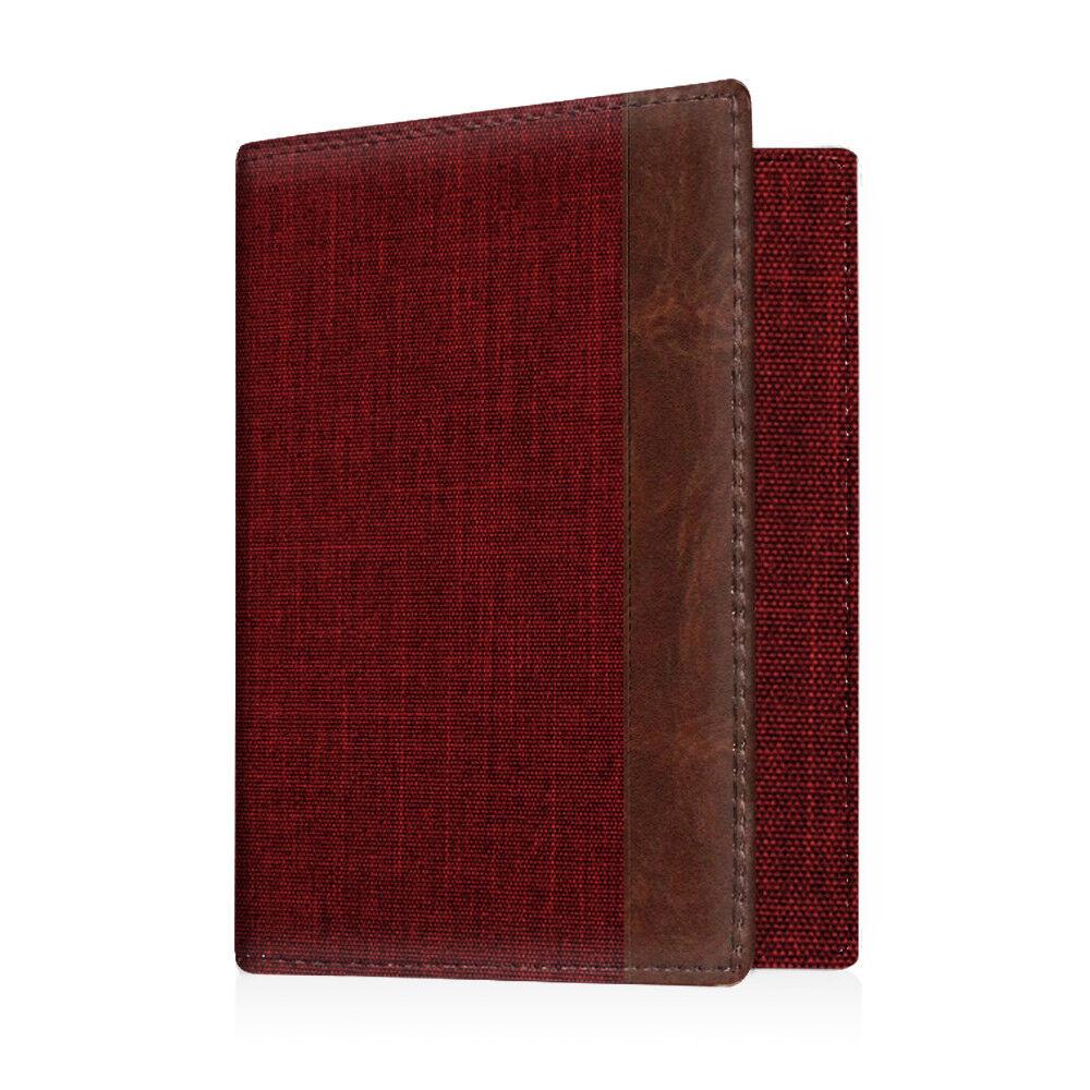 Travel Passport Holder Wallet Holder RFID Blocking Vegan Leather Card Case Cover Denim Burgundy