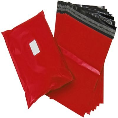 100 Red Plastic Mailing Bags Size 6x8