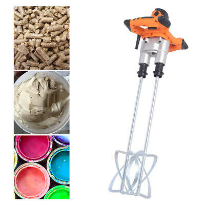 Double Electric Mortar Mixer 1600w Dual High Low Gear Paint Cement Grout