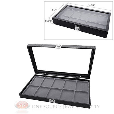Glass Top Jewelry Organizer Display Case 10 Compartment Gray Insert Travel