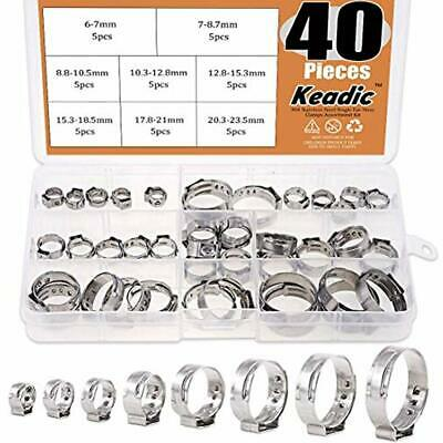 40pcs 14quot-1516quot Stainless Steel Single Ear Hose Clamps Clips Pex Pinch