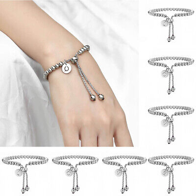Stainless Steel Beaded Bracelet Initial Letter A-Z Charm Adjustable Link Chain