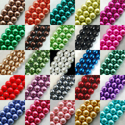 Beads - 100pcs Top Quality Czech Glass Pearl Round Loose Beads 3mm 4mm 6mm 8mm 10mm 12mm