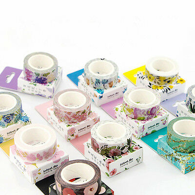 NEW DIY Floral Washi Sticker Decor Roll Paper Masking Adhesive Tape Crafts - Washi Tape Cheap