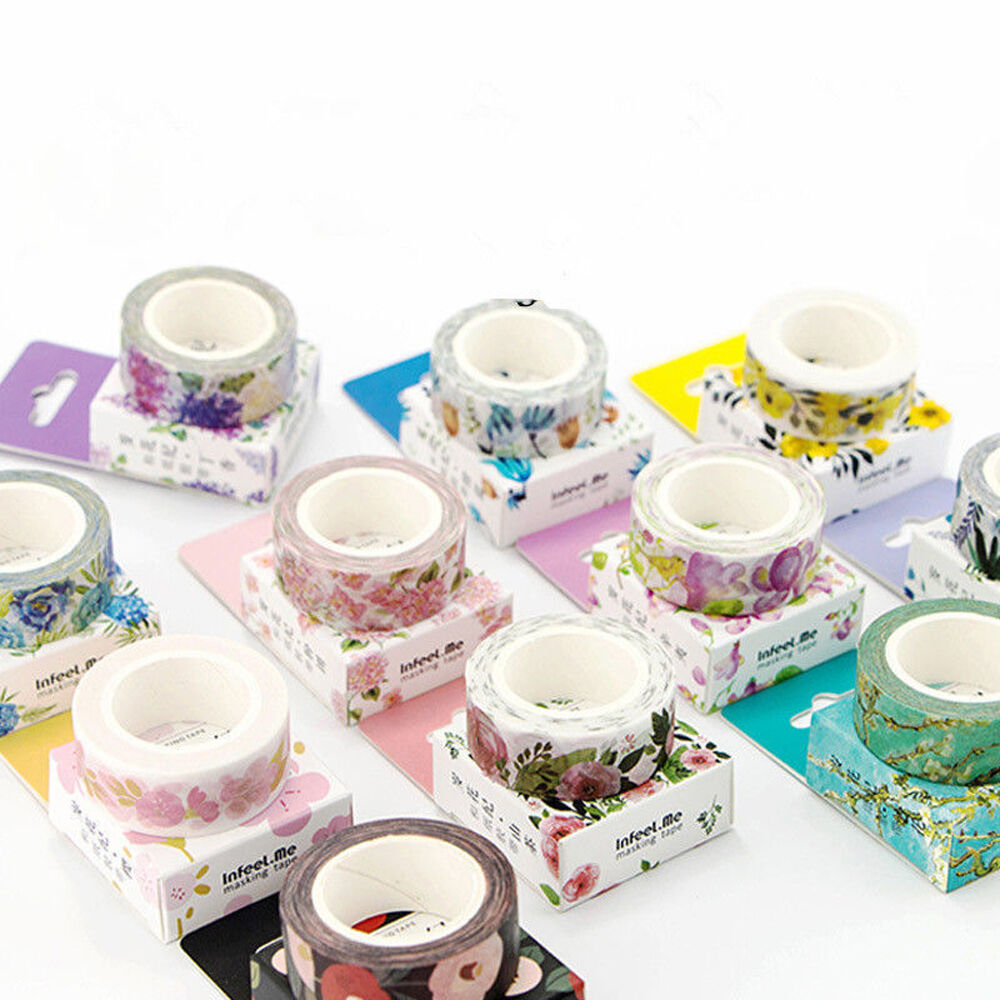 NEW DIY Floral Washi Sticker Decor Roll Paper Masking Adhesi