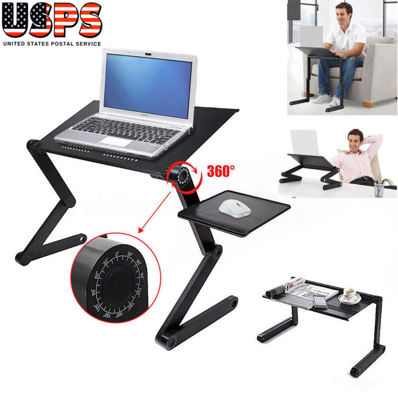 Adjustable Folding Laptop Table Desk Bed Sofa Computer Tray Stand Portable Black