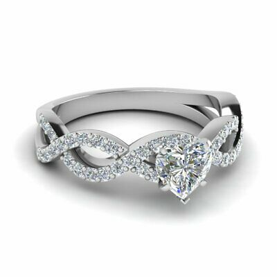 1 Carat Heart Shaped Diamond Rings Intertwined Style Pave Set In White Gold GIA