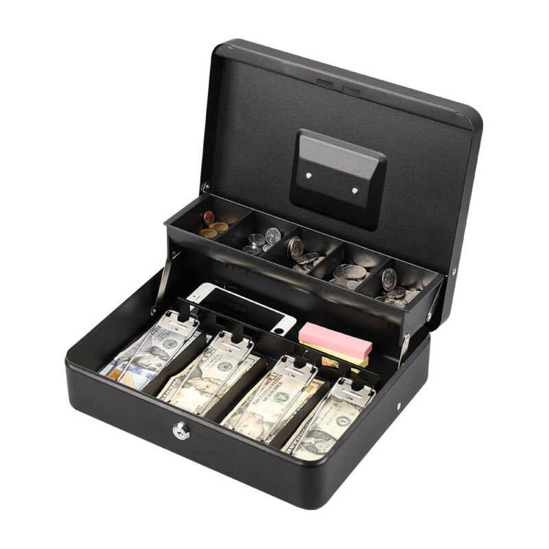 Portable Cash Box Money Storage with Tray & Key/Lock 5 Compartment Black