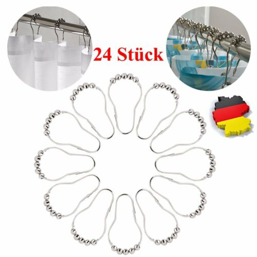 24x Rollerball Gardinenringe Vorhangringe Ringe Faltenhaken Gardinenhaken Silber