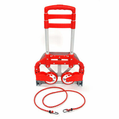 Aluminium Luggage Cart Heavy Duty Folding Roller Carts With Wheels Carrier Red