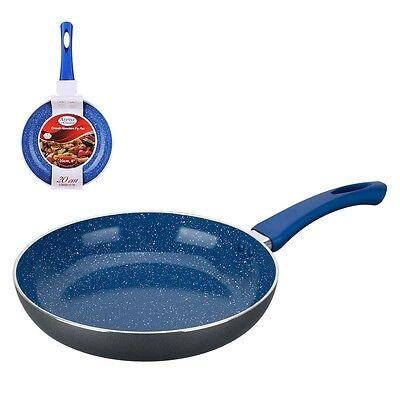 3pc BLUE MARBLE Ceramic Non Stick Fry Pan Set Eco Friendly Frying Saute 8 10 12
