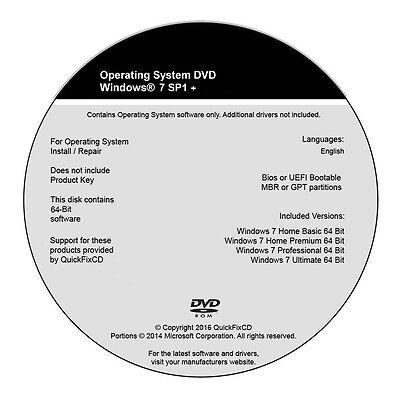 Windows 7 Dvd All Versions 32   64Bit Restore Repair Reinstall Install W Hd
